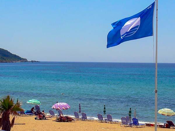 Bandera verde en la playa